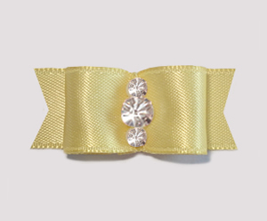 "#1919 - 5/8"" Dog Bow - Satin, Baby Yellow, Triple Rhinestones"