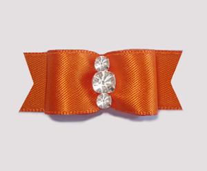 "#1921 - 5/8"" Dog Bow - Satin, Vibrant Orange, Triple Rhinestones"