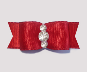 "#1924 - 5/8"" Dog Bow - Satin, Rich Red, Triple Rhinestones"