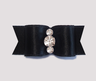 "#1926 - 5/8"" Dog Bow - Satin, Classic Black,Triple Rhinestones"