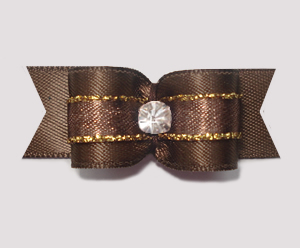 "#1939 - 5/8"" Dog Bow - Beautiful Rich Brown & Gold, Rhinestone"