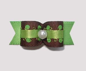"#1944 - 5/8"" Dog Bow - Yummy Chocolate & Lime, Brown on Green"