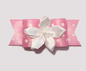 "#1950 - 5/8"" Dog Bow - Little Sugar, Pink/White Dots, Florette"