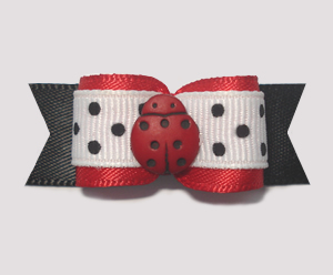 "#1956 - 5/8"" Dog Bow - Sweet Li'l Ladybug Dots, Red/White/Black"