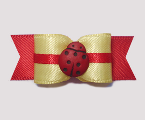 "#1957 - 5/8"" Dog Bow - Adorable Baby Yellow with Ladybug"