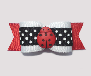 "#1958 - 5/8"" Dog Bow - Cute Li'l Ladybug Dots, White/Black/Red"