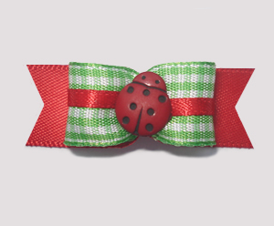 "#1959 - 5/8"" Dog Bow - Ladybug Picnic, Green Gingham & Red"