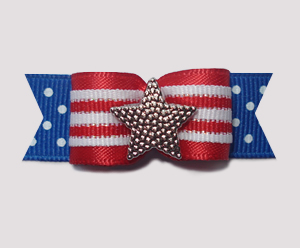 "#1960 - 5/8"" Dog Bow - Patriotic Star, Red Stripes on Blue"