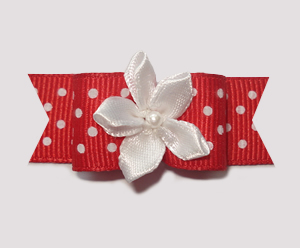 "#1962 - 5/8"" Dog Bow - Red & White Swiss Dots, White Florette"