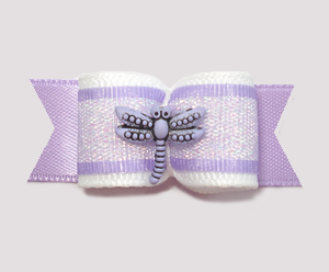 "#1965 - 5/8"" Dog Bow - Dragonfly Shimmer, Lavender"