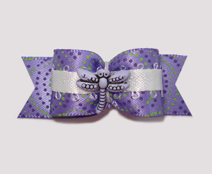 "#1967 - 5/8"" Dog Bow - Dragonfly Swirls, Purple & Green"