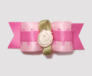 "#1970 - 5/8"" Dog Bow - Pretty in Pink, Rosette"