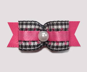 "#1972 - 5/8"" Dog Bow - Adorable Classic B/W Gingham, Hot Pink"