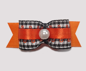 "#1974 - 5/8"" Dog Bow - Adorable Classic B/W Gingham, Orange"