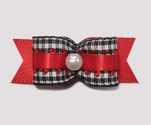 "#1975 - 5/8"" Dog Bow - Adorable Classic B/W Gingham, Red"