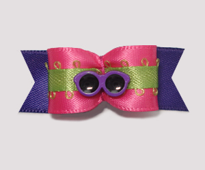"#1976 - 5/8"" Dog Bow - Beach Fun, Hot Pink, Lime & Purple Shades"