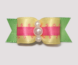 "#1977 - 5/8"" Dog Bow - Summery Brights, Yellow, Hot Pink & Green"