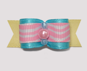 "#1978 - 5/8"" Dog Bow - Squiggle Fun, Pink/Blue/Yellow"