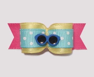 "#1979 - 5/8"" Dog Bow - Cool Summery Shades, Blue/Yellow/Hot Pink"