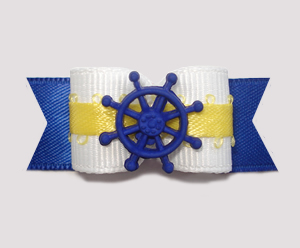 "#1983 - 5/8"" Dog Bow - Nautical, White, Sunny Yellow, Blue Wheel"