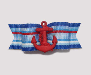 "#1984 - 5/8"" Dog Bow - Nautical Stripes with Red Anchor"
