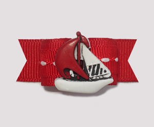 "#1986 - 5/8"" Dog Bow - Nautical, Red & White Sailboat"