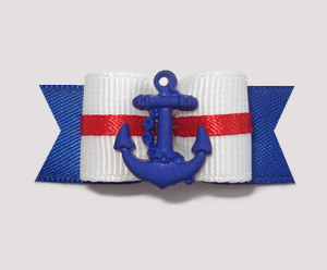 "#1987 - 5/8"" Dog Bow - Classic Nautical, Blue Anchor"