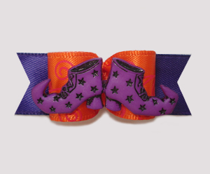 "#1989 - 5/8"" Dog Bow - Bewitched Boots, Purple & Orange"