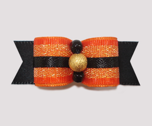 "#1993 - 5/8"" Dog Bow - Fancy Fall, Orange Shimmer, Gold Stardust"