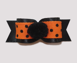 "#1994 - 5/8"" Dog Bow - Twilight Pom-Pom, Black Dots on Orange"
