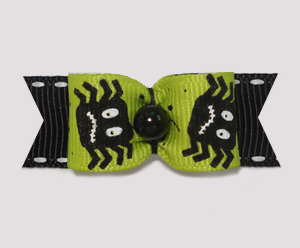 "#1996 - 5/8"" Dog Bow - Spooky Spiders, Black & Green"