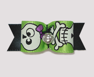 "#1998 - 5/8"" Dog Bow - Cute Skull & Crossbones on Black"