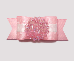 "#2000 - 5/8"" Dog Bow - Baby Pink Bling!"