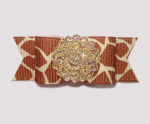 "#2002 - 5/8"" Dog Bow - Exotic Giraffe Print with Bling!"