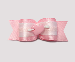 "#2018 - 5/8"" Dog Bow - Baby Pink Heart with White Cupid's Arrow"