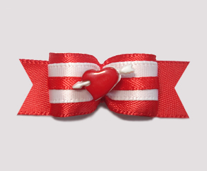 "#2020 - 5/8"" Dog Bow - Red Heart, White Cupid's Arrow"