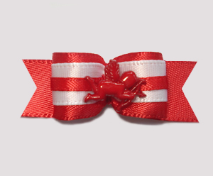 "#2021 - 5/8"" Dog Bow - Sweet Red Cupid, Red Satin"