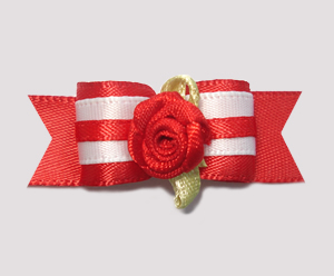 "#2023 - 5/8"" Dog Bow - Sweet Red Rose, Red Satin"