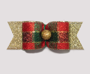 "#2025 - 5/8"" Dog Bow - Custom Center - Sparkly Festive on Gold"