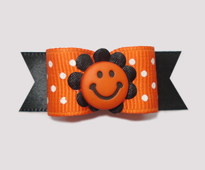 "#2029 - 5/8"" Dog Bow - Delightful Smiley Flower, Orange & White"