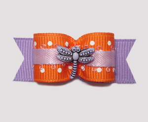 "#2030 - 5/8"" Dog Bow - Delightful Dragonfly, Orange Dots"