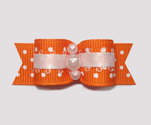 "#2031 - 5/8"" Dog Bow - Delightful Swiss Dots, Orange & White"