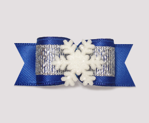 "#2035 - 5/8"" Dog Bow - Winter Wonderland, Blue/Silver, Snowflake"