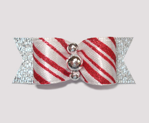 "#2036 - 5/8"" Dog Bow - Candy Cane Delight with Silver"