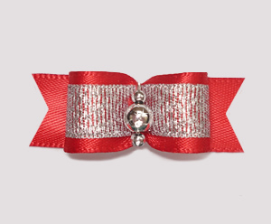 "#2038 - 5/8"" Dog Bow - Sparkly Splendor, Red/Silver"