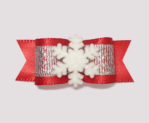 "#2039 - 5/8"" Dog Bow - Winter Wonderland, Red/Silver, Snowflake"