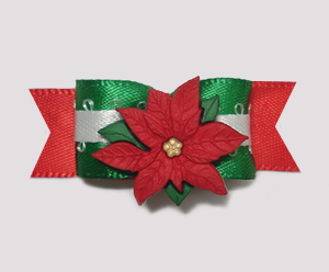 "#2042 - 5/8"" Dog Bow - Lovely Holiday Poinsettia"