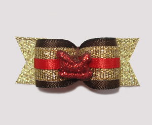 "#2044 - 5/8"" Dog Bow - Glam & Sparkle, Tiny Red Sleigh"