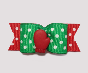 "#2049 - 5/8"" Dog Bow - Let It Snow!, Red Mitten"