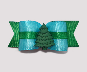 "#2050 - 5/8"" Dog Bow - Very Cool Evergreen, Blue/Green"
